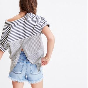 Madewell | Courier Button Back Striped Tunic Shirt